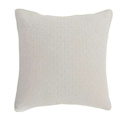 Levtex Home - Cross Stitch - 100% Cotton - Euro Sham (26x26in.) Set of 2 - Cream