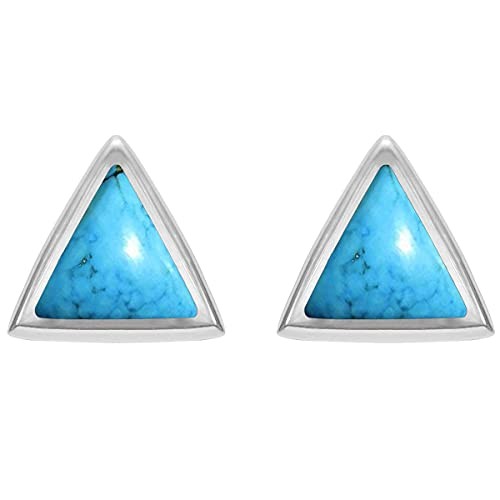 CaratYogi plata de ley 925 plata de ley Triangular Natural-Turqouise