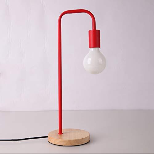 Lámpara de escritorio de madera moderna nórdica, dormitorio, mesita de noche, lámparas de mesa de madera, accesorios de mesa de metal simples multicolor, decoración de habitación, iluminación E27,Rojo