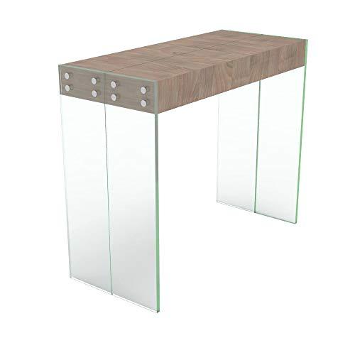 VE.CA.s.r.l. Mesa Consola Extensible Cristal/Madera - Extensible ...