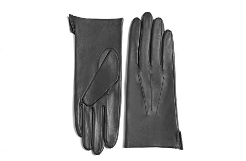 YISEVEN Women's Unlined Leather Gloves Italian Lambskin Three Points Long Cuff Design Hand Warm and Stylish Ladies Dress Driving Motorcycle Work Luxury Xmas Gift, Gray 6.5'/Small