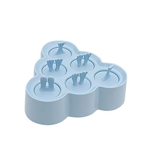 DIY Silikon Eisformen,6 Loch Süßigkeiten Formen Schalen Eisform,Eis am Stiel Form,Umweltschutz Kinder Baby Eisförmchen für Fruchtsaft,Püree,Eiskaffee,Strandpartys,Halloween, Weihnachtsfeiern