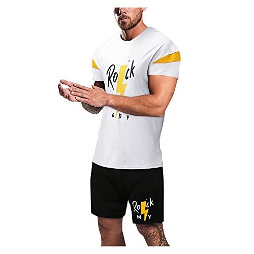 AWDX Herren Sportanzug 2-Teiliges Patchwork Einfarbig T-Shirts + Shorts mit Kordelzug Männer Sommer Causal Funky Freizeit Activewear Streetwear Zweiteilige Muskelshirt Hosen Sets Fitness Gym Running