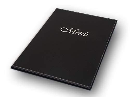 Menu Kaarten/menukaarten map met klinknagels binding/5-pack, zwart