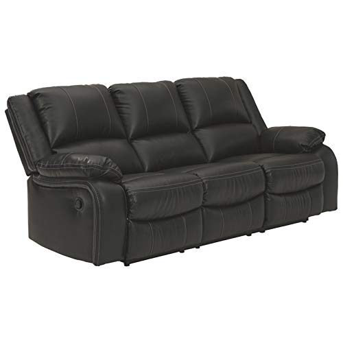 Signature Design by Ashley - Calderwell Contemporary Faux Leather Reclining Sofa - Pull Tab Reclining - Black