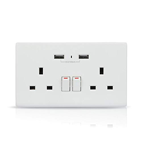 V-TAC Toma de pared WiFi inteligente con cargador USB – Enchufe de enchufe inteligente funciona con Amazon Alexa Echo, Google Assistant, Nest – no requiere concentrador