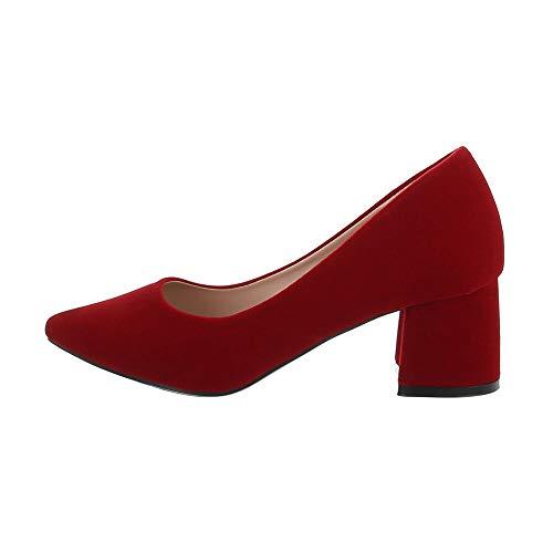 Ital-Design Damenschuhe Pumps High Heel Pumps, Y115-, Kunstleder, Rot, Gr. 39