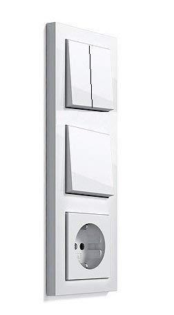 -GIRA Serie E2 Komplett-Sets - reinweiß MATT (1x Steckdose, 1x Wechselschalter, 1x Rahmen 2fach, 1x Wippe, 1x Serienschalter, 1x Wippe-Serie)