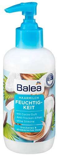 Balea Haarmilch Feuchtigkeit, 200 mL / Für trockenes und strapaziertes Haar / Anti-Trocken-Effekt / Mit Cocos-Duft / Ohne Silikone / Hautverträglichkeit dermatologisch bestätigt