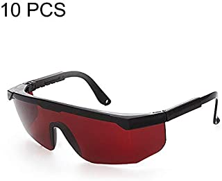 SGJFZD 10 PCS Laser Protection Glasses Goggles Fashion Design ConventionalWorking Protective Glasses (Color : Red)