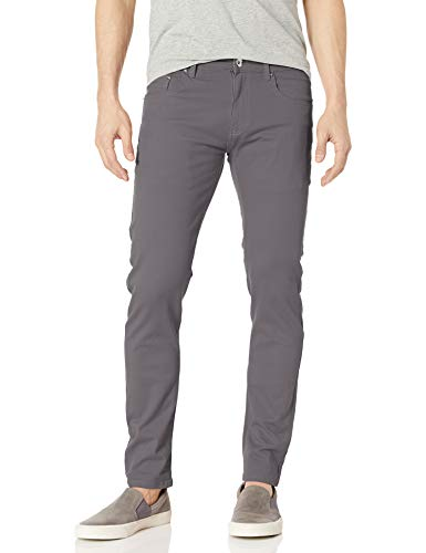 WT02 Men's Basic Color Twill Stretch Span Pants, Dark Grey(New), 34X30