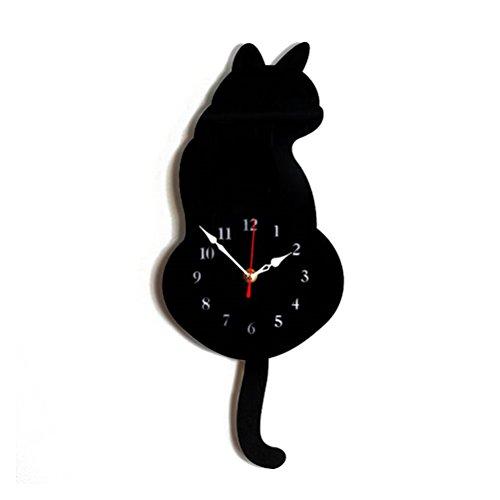 VORCOOL Katzen Wanduhr Moderne Acryl Deko Uhr leise Rahmenlose Wanduhr (Schwarz)