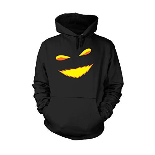 Shirtfun24 Halloween Kürbis Gesicht Fratze Augen Mund Kerze Herren Unisex Hoodie Kapuzenpullover, schwarz, L