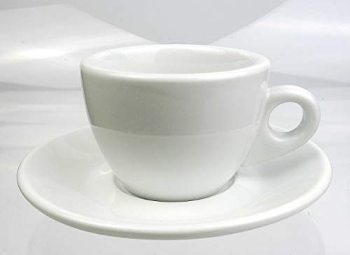 Nuova Point Kleine dickwandige Cappuccinotasse »Portofino weiß | Füllmenge (bis zur Oberkante): 145 ml | 6 Tassen & 6 Untertassen