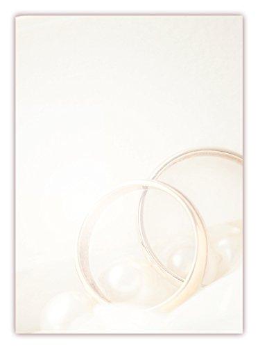Motivpapier Briefpapier (Hochzeit-5171, DIN A4, 25 Blatt) - goldene Ringe