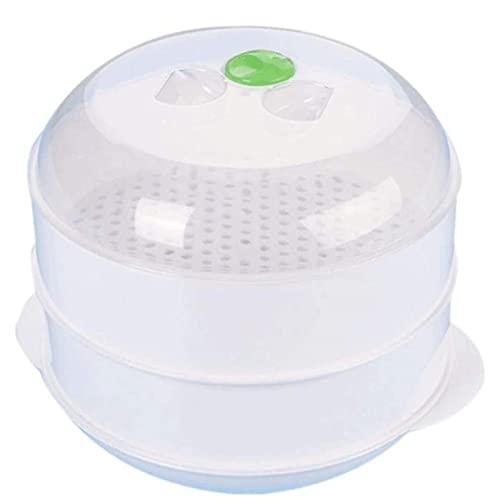 HHTD Blanco Capa Doble Práctica plástico Doble plástico vaporización microondas Horno vaporizador Redondo