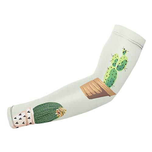 Rterss Cactus Plant Bloempot Bloemenpatroon Aangepaste Arm Guard Mouwen Zonbescherming Warm Unisex Outdoor Sport (1 paar)