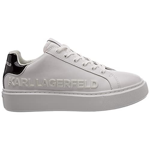 Karl Lagerfeld KL62210 Damenschuhe aus Leder Farbe Weiß mit schwarzem Einsatz und gummiertem Logo, Weiß - Weiß - Größe: 37 EU