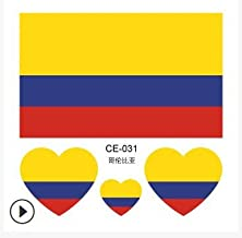ADSRO 2018 World Cup FIFA National Flags Tattoo Sticker Football Game Cheerleading Supplies Waterproof Tattoo Stickers 20 PCS size 2.4inch (Colombia)