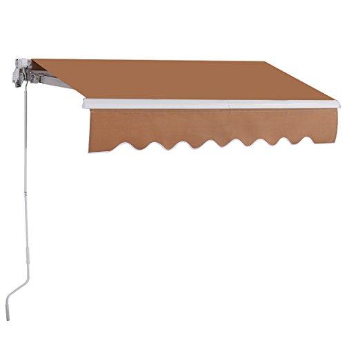 COSTWAY Toldo con Brazo Plegable de 2,5 x 2 Metros Toldo Manual Impermeable y Resistente a los Rayos UV Toldo para Balcón Terraza Puerta Ventana (Beige)