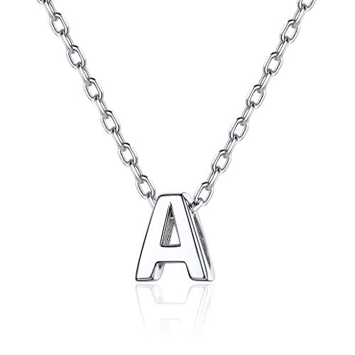 Silvora Collar Letras Plata A Letra Colgante Mujer Collar Colgantes Iniciales Plata de Ley Hombre