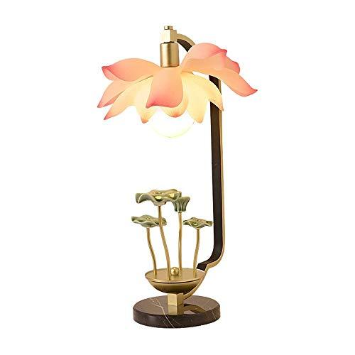 SYLOZ E27 calientan Arte Zen flor de loto dormitorio de la lámpara creativa Nuevo Chino Estilo Personalidad Decoración de la sala de estar Dormitorio de noche Lámpara de escritorio Lámpara de mesa SYL