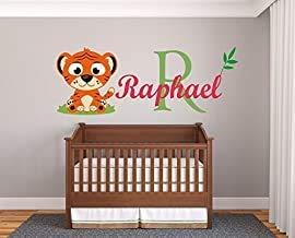 Adhesivo de pared para habitación de bebé, diseño de tigre, primera serie, bebé niño, guardería para decoración de habitación de bebé, calcomanía de pared para el hogar y el dormitorio de los niños (ancho 34 x 16 x altura)