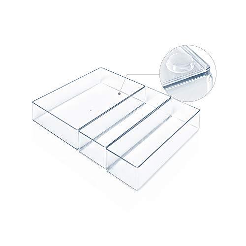Lilly Things ANTIRUTSCH Schubladen Ordnungssystem (transparent) Schubladen Organizer Schubladeneinsatz Aufbewahrungsbox für Make-Up Kosmetik Schminktisch Schreibtisch Büro Bad Küche (3-teilig B)