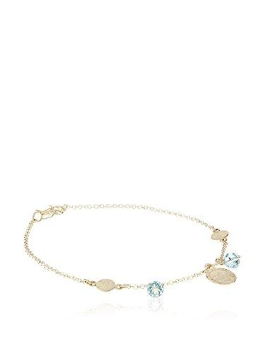 Córdoba Jewels | Tobillera en Plata de Ley 925. Diseño Denario Swarovski Aguamarina
