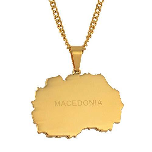 XZZZBXL Map Necklace for Women,Mazedonien Karte Anhänger Halsketten Mode Persönlichkeit Für Frauen Mädchen Gold Colour Chain Charme Karten Schmuck 45 cm (18 Zoll)-Thin_Kette