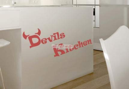 Ajcwhml Diseño Simple Devil Kitchen Wall Decal Vinilo extraíble Impermeable Decoración para el hogar Creativo Wall Sticker Art Kitchen Decal
