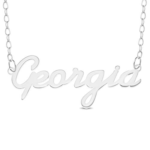 GEORGIA Name Necklace 925 Sterling Silver Box Chain Pendant Gift + Pouch (12)