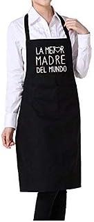 """Delantal cocina personalizado para MAMA con frase"""" LA MEJOR MADRE DEL MUNDO"""".Puedes elegir entre ROJO, GRANATE, AZUL MARIN..."""