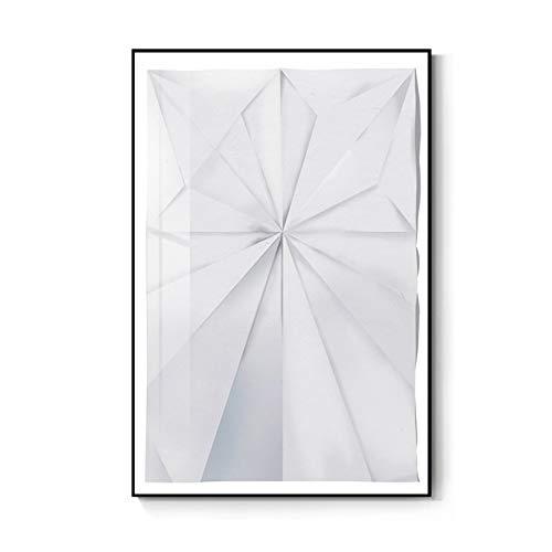 N/A Cartel Decorativo Impresión Pintura La Lona Carteles Pintura Lienzo Blanco Minimalista Moderno para Sala Estar Dormitorio Asile Papel Doblado Arte Pared Imágenes Origami 60 Cm X 80 Cm