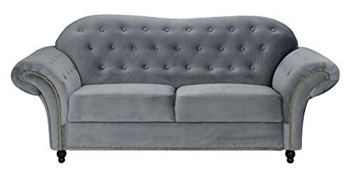 Sofas and More Lyon Chesterfield Style French Velvet fabric 3 + 2 seater sofa Armchair Blue Silver Grey (Grey, 2 Seater)