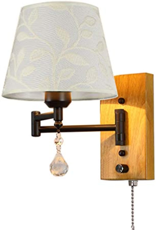 Pull Kette Wandleuchte Schwenkarm E27 Metall Kristall Und Stoff Schatten Wohnzimmer Schlafzimmer Nachttischlampe Wandleuchte (gre   32cm×25cm)