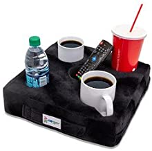 Cup Cozy Deluxe Pillow (Black)- As Seen on TV-The world's BEST cup holder! Keep your drinks close and prevent spills. Use it anywhere-Couch, floor, bed, man cave, car, RV, park, beach and more!