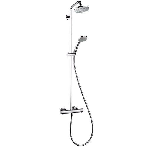 hansgrohe Croma Sliding Height Adjust Modern RainAir Air Infusion with Airpower with QuickClean ShowerPipe Exposed Pipe Shower System in Chrome, 27169001,Small