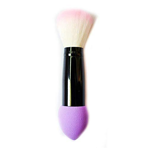 XTR Professionnel Blusher Brush 2 Têtes Nylon Brosses de Maquillage Deux Tête Métal Outils Cosmétiques avec Éponge Rose Couleur 1 pc, Violet