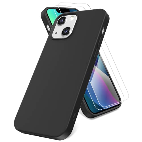 Vansdon Funda Compatible con iPhone 13 Mini,  con 2 Protector Pantalla in Cristal Templado,  Funda de TPU de Silicona líquida Suave,  Funda de Goma de Silicona líquida a Prueba de Golpes -  Negro