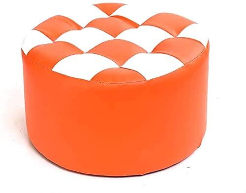 XIAOZHEN Reposapiés, taburete otomano, almacenamiento de cuero, asiento de madera maciza, mesa de comedor, banco redondo, asiento pequeño, asiento de sofá, silla para adultos, otomana (color: #1)