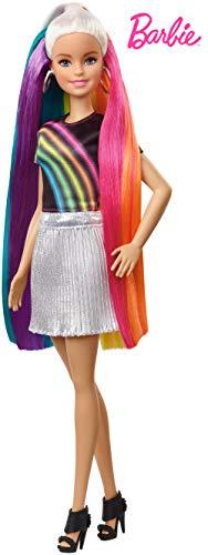 Barbie poupée Chevelure Arc-en-ciel Paillettes avec long cheveux colorés, peigne et accessoires inclus, jouet pour enfant, FXN96