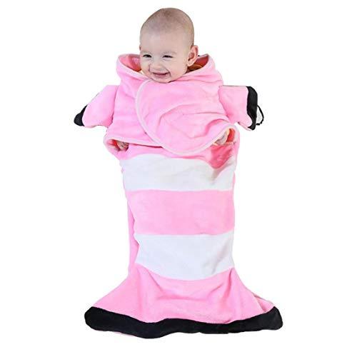 hvxjxk Baby Wrap Blanket Neugeborene Weiche Flanell Swaddle Wrap Fisch-Form-Winter-Baby-bettwäsche Receiving Blanket Schlafsack Anti-Kick-Quilt Rosa