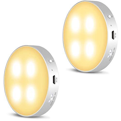 Daffodil LEC022 - Wiederaufladbarer LED Nachtlicht mit Bewegungsmelder innen – Warmweiße helle LED Schrankbeleuchtung mit Akku und 3 Lichtmodi – Lampe Inklusive 3M Magnetbefestigung – 2er Set - silber