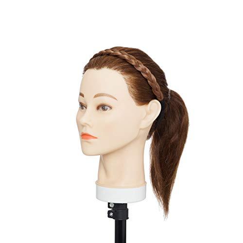 Extensiones de cabello de moda real Diadema trenzada Mujeres trenzadas Trenzas de pelo sintético Diademas Pedazo de cabello Braid Hairband Castaño claro