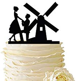 PotteLove Personalised Proposal With Windmill Mr & Mrs Wedding Cake Topper - Bride & Groom Wedding Cake Topper - Mirror Gold Glitter Acrylic Cake Topper For Wedding Anniversary Party Decoration