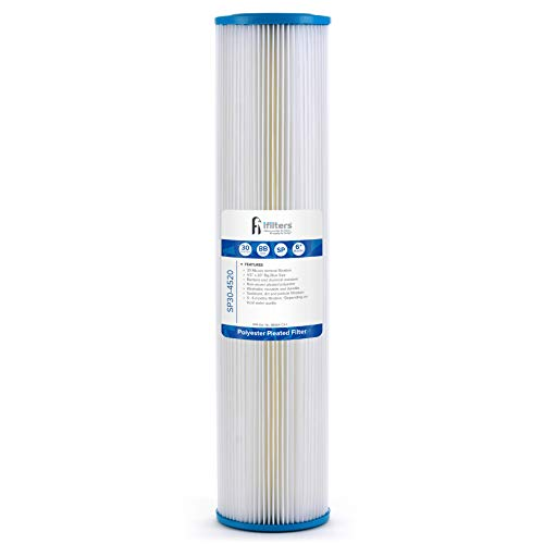 """Sediment Pleated Water Filter City or Well Water, Washable 4.5"""" x 20"""", 30 Micron"""