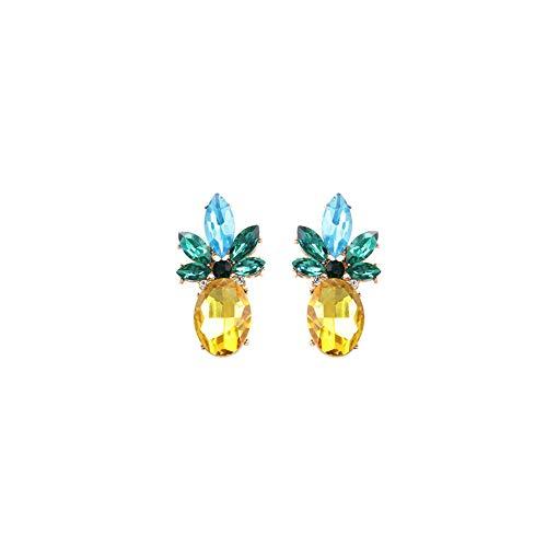 FANKUNYIZHOUSHI - Pendientes de Tuerca de piña con Diamantes de imitación Coloridos, diseño de Frutas, 1 par