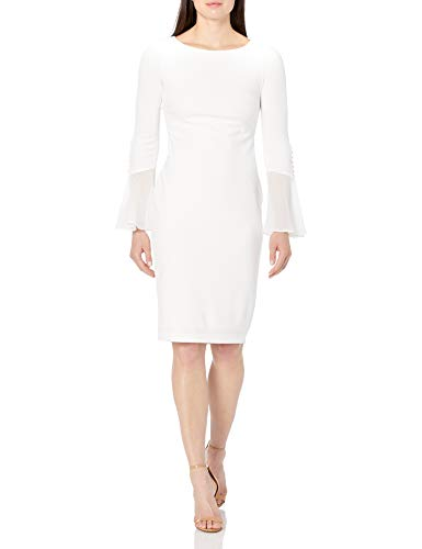 Calvin Klein Women's Solid Sheath with Chiffon Bell Sleeves Dress,...