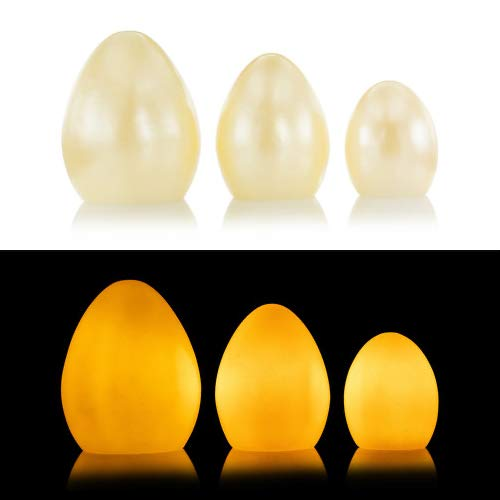 3er Set LED Kerzen aus Echtwachs - Echtwachskerzen als Ostereier mit Timer - Deko für Frühling und Ostern (Vanille)